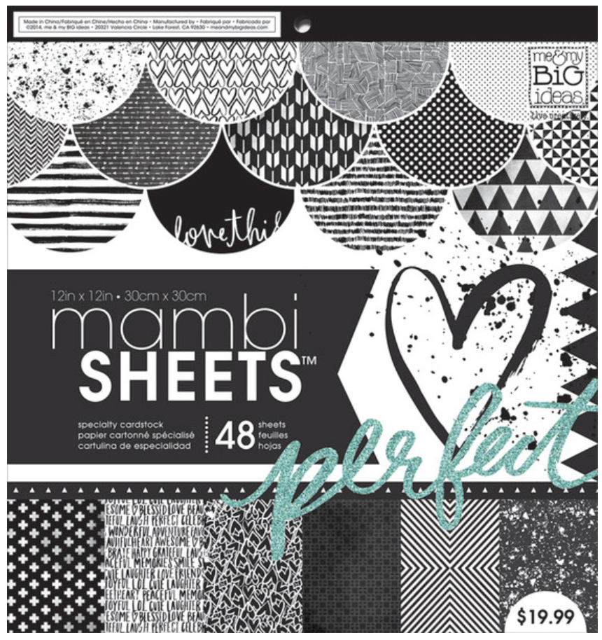 'Black & White Trendy Graphics' 12x12 mambiSHEETS paper pad | me & my BIG ideas