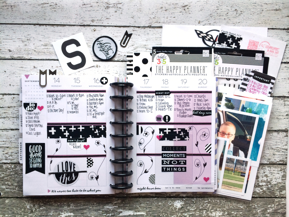The happy planner black white bold weekly spread for Planners anonymous