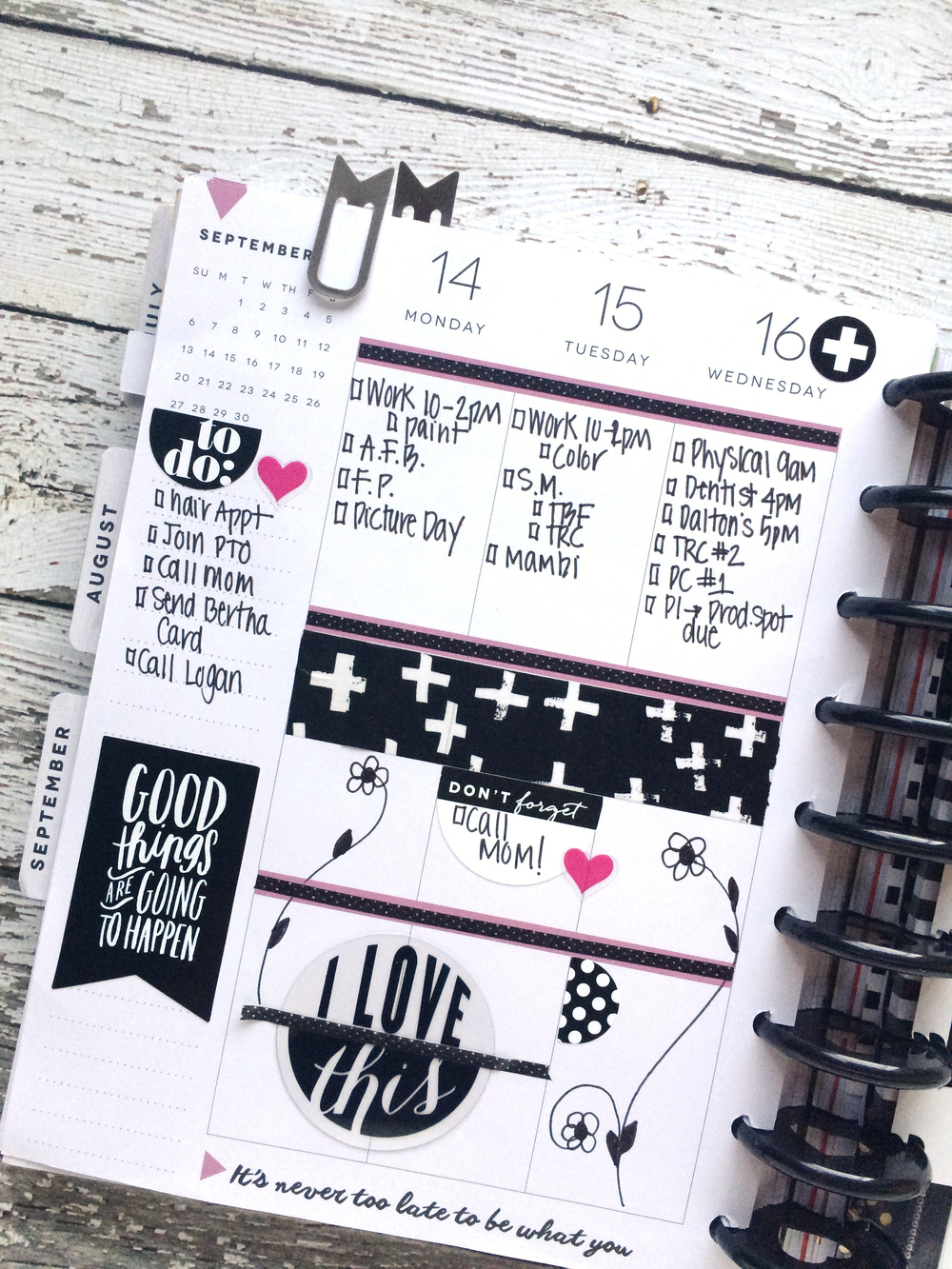 The happy planner black white bold weekly spread for Planner decorating blogs