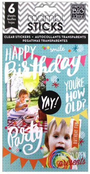 'Happy Birthday' mambiSTICKS sticker pad | me & my BIG ideas