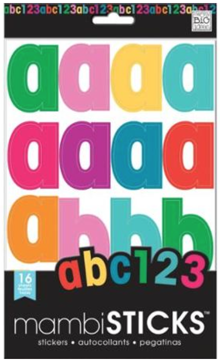 Primary Lowercase Solids Alpha & Number mambiSTICKS stickers | me & my BIG ideas