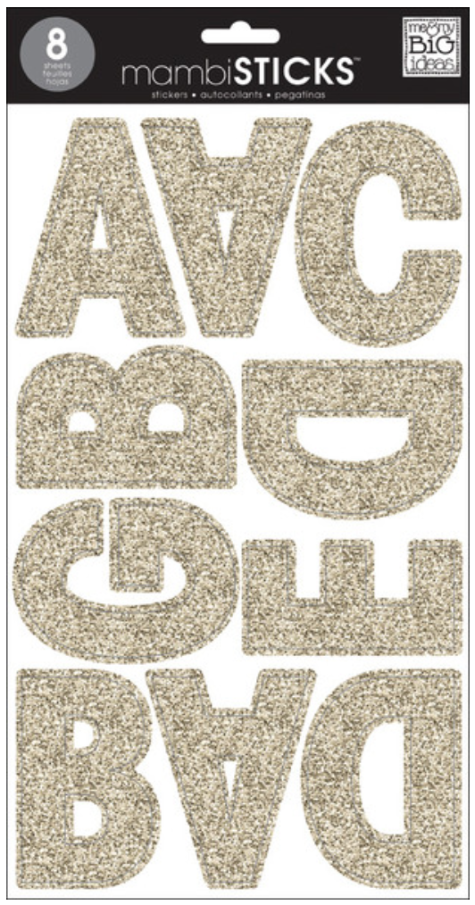 Large Uppercase Gold Glitter mambiSTICKS alphabet stickers | me & my BIG ideas