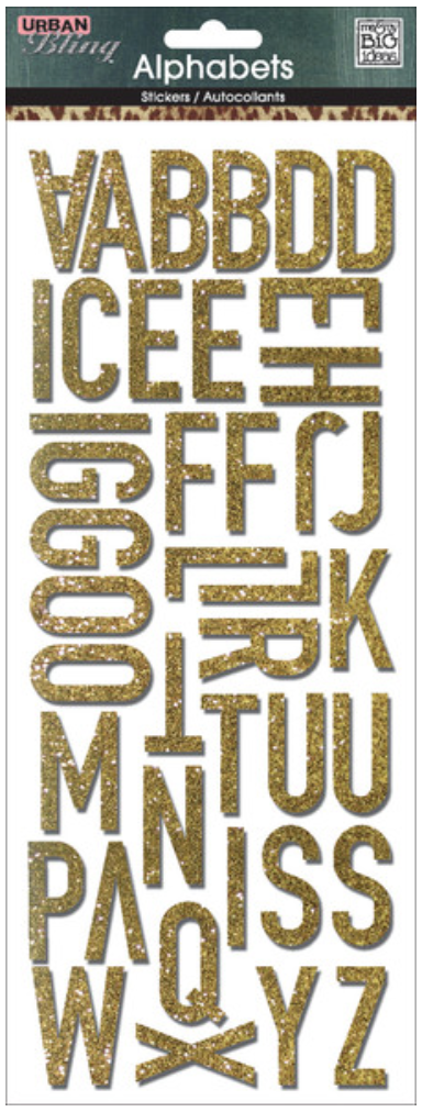 Gold Glitter Uppercase mambiSTICKS alphabet stickers | me & my BIG ideas