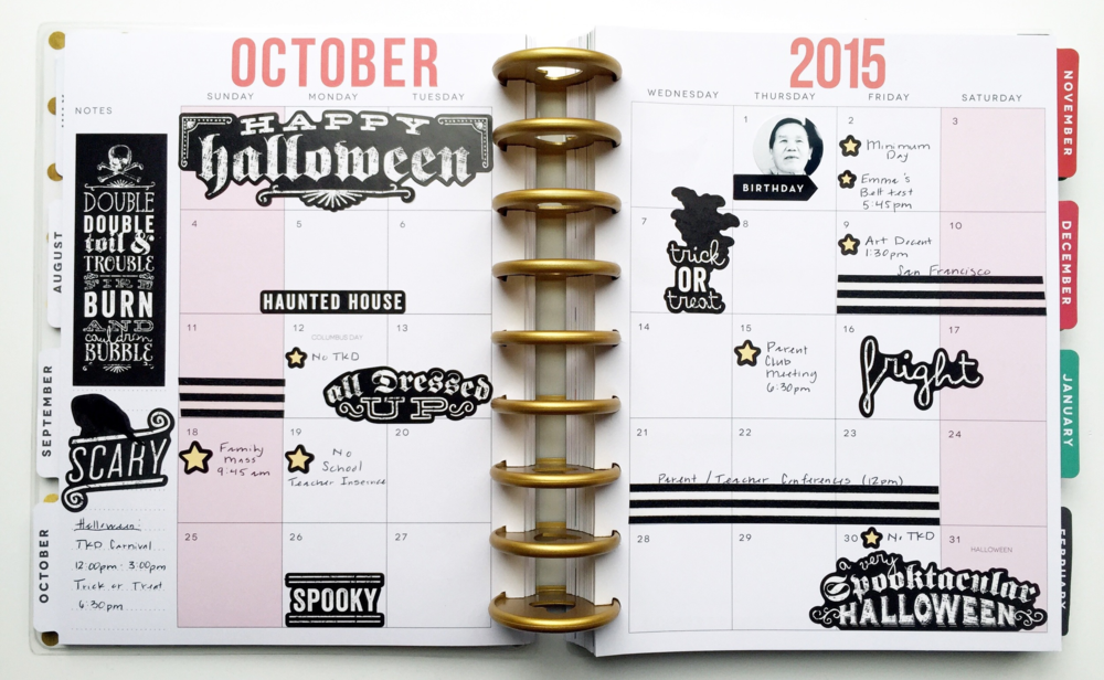 October monthly spread in The Happy Planner™ of mambi Design Team member Theresa Doan | me & my BIG ideas