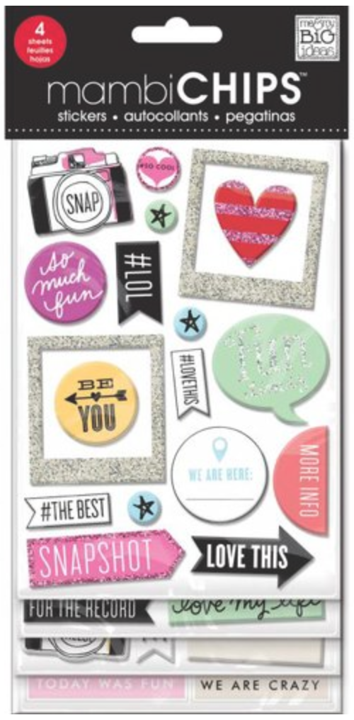 'Insta Love' mambiCHIPS chipboard sticker pack | me & my BIG ideas