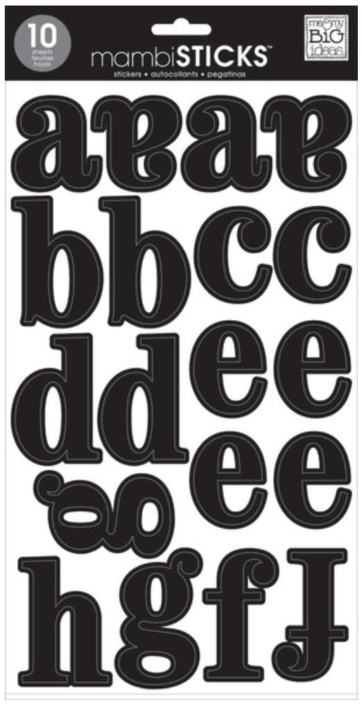Lowercase Medium Black mambiSTICKS alphabet stickers   me & my bIG ideas