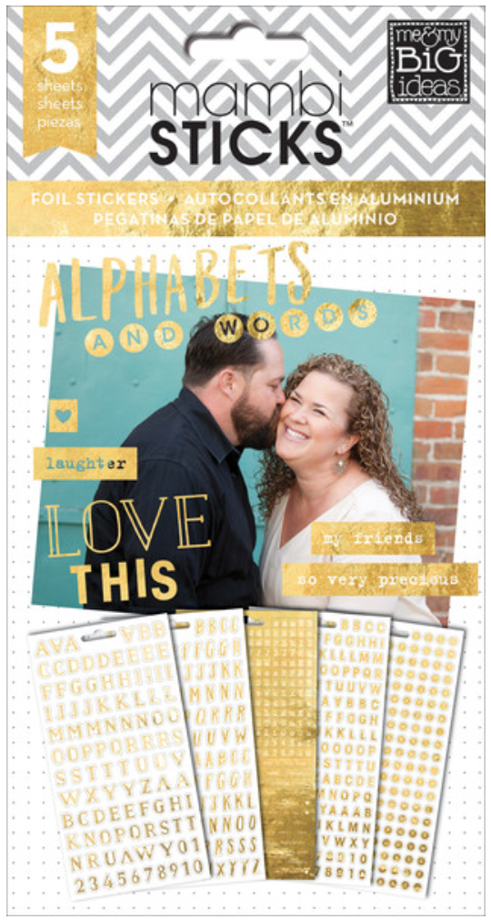 Gold Foil Alphas & Words mambiSTICKS sticker pad | me & my BIG ideas