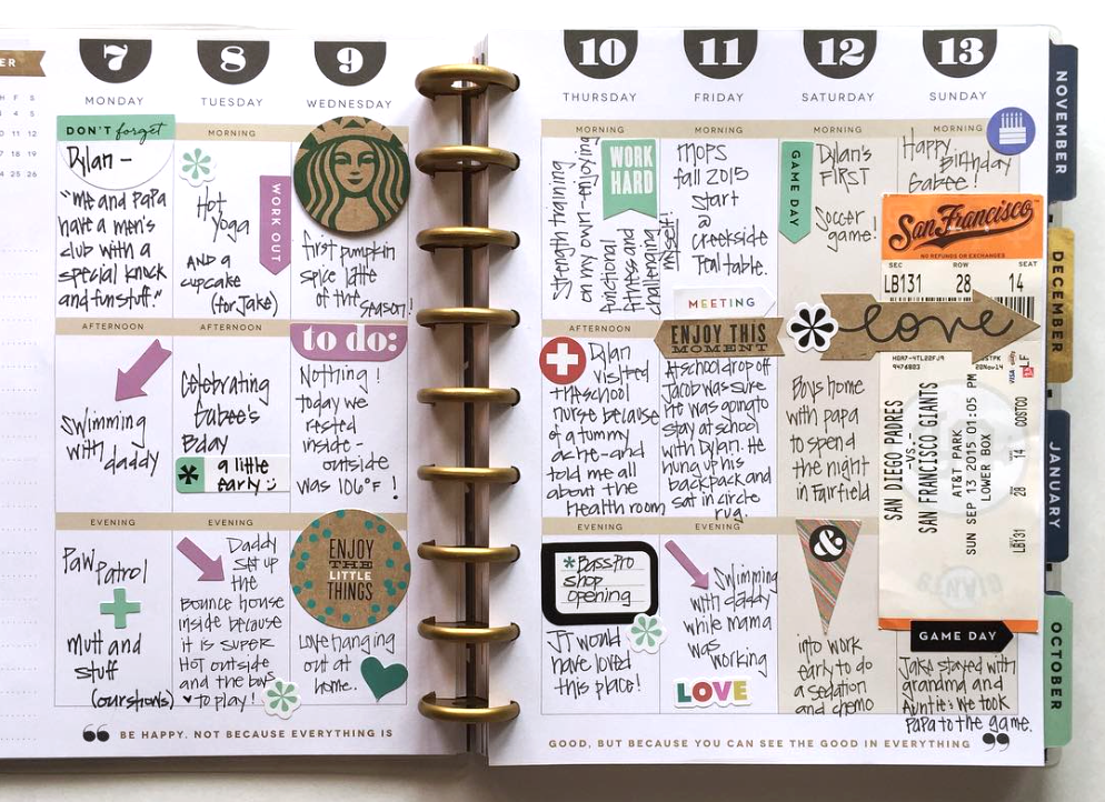 half memory keeping, half 'to do' list in these Happy Planner™ weekly pages of mambi Design Team member Casie Gutierrez | me & my BIG ideas