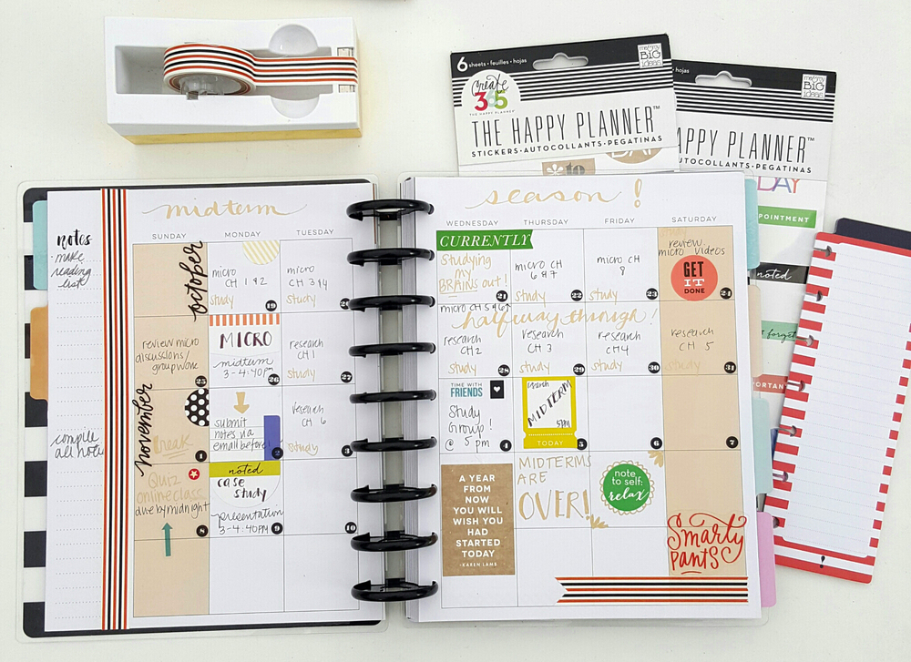 a month of midterm exams in The Happy Planner™ of mambi Design Team member Kiara Vega | me & my BIG ideas
