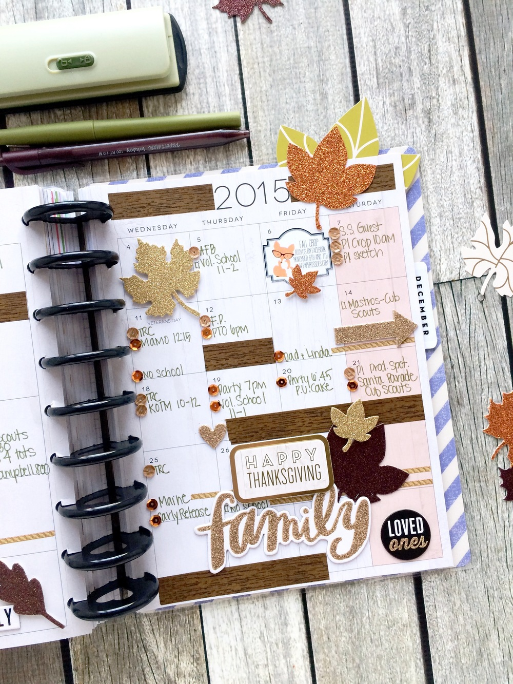 'Happy Grateful' November monthly spread in the The Happy Planner™ of mambi Design Team member Mary-Ann Maldonado | me & my BIG ideas