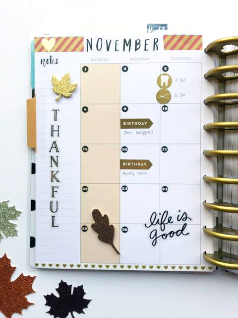 November in The Happy Planner™ of mambi Design Team member Megan McKenna | me & my BIG ideas