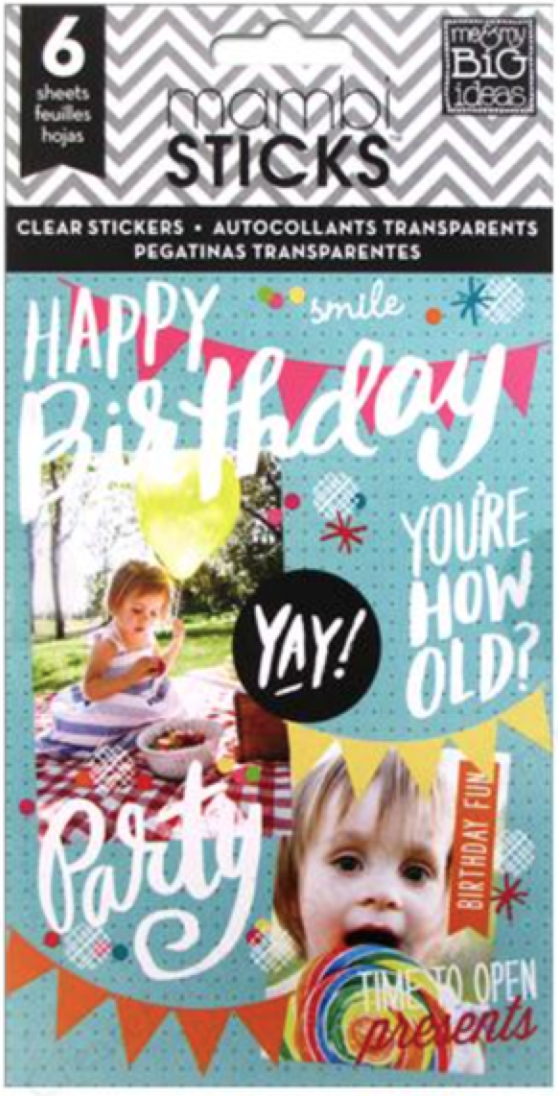 'Happy Birthday' mambiSTICKS clear sticker pad  | me & my BIG ideas