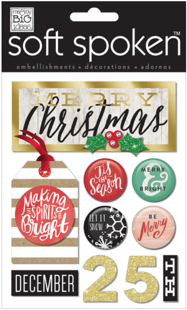 'Miking Spirits Bright' SOFT SPOKEN™ dimension Christmas stickers | me & my BIG ideas