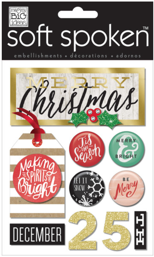 'Making Spirits Bright' SOFT SPOKEN™ dimensional Christmas stickers | me & my BIG ideas