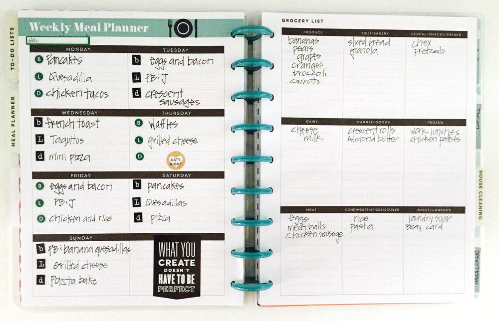 The happy planner planning a week 39 s meals me my big for For planner
