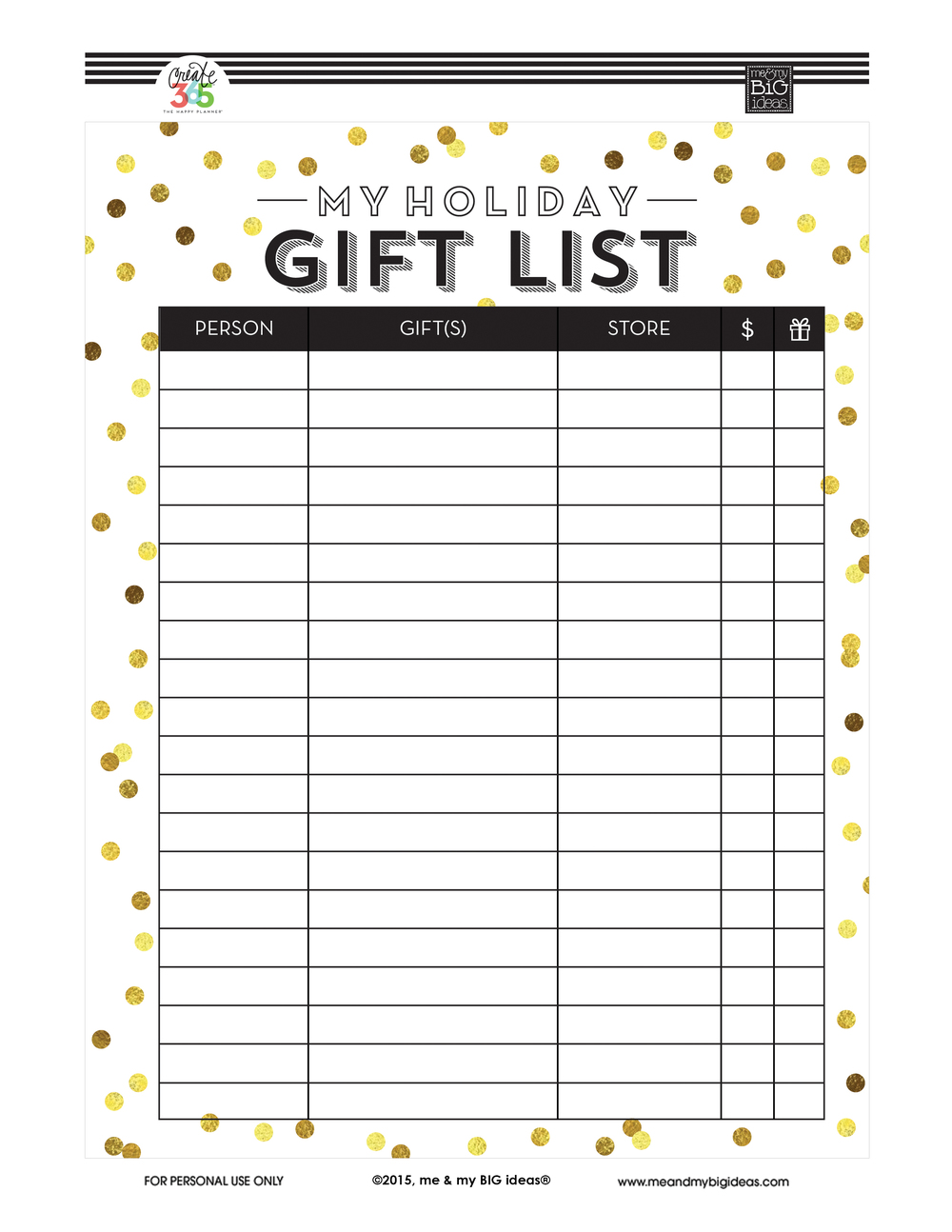 holiday gift list free printables me my big ideas