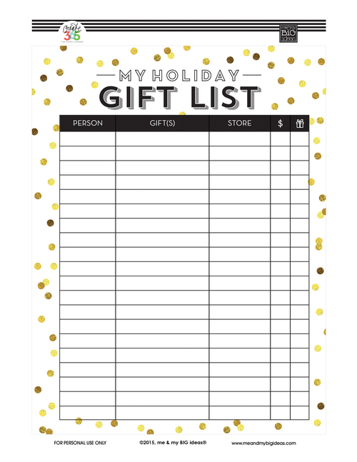 Holiday Gift List\' FREE PRINTABLES — me & my BIG ideas