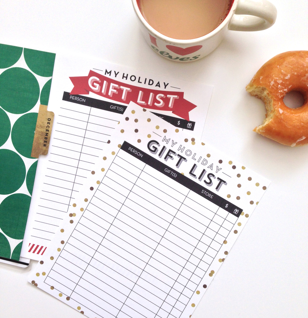 holiday gift list free printables for the happy planner me my