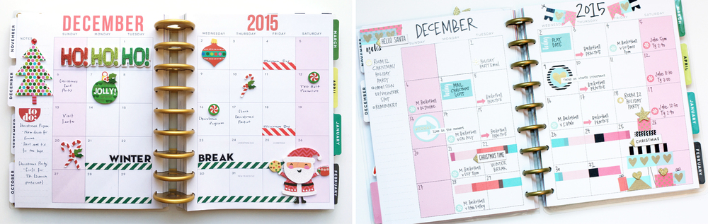 two December monthly layouts in The Happy Planners™ of mambi Design Team members Theresa Doan and April Orr | me & my BIG ideas