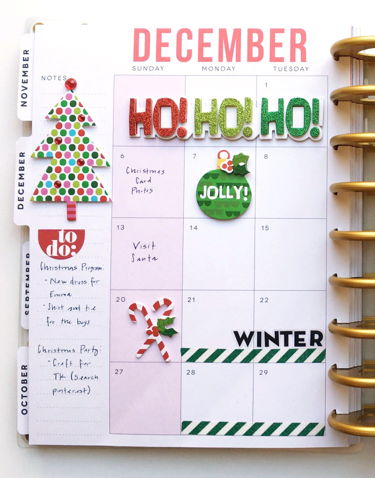 December monthly layout in The Happy Planner™ of mambi Design Team member Theresa Doan | me & my BIG ideas