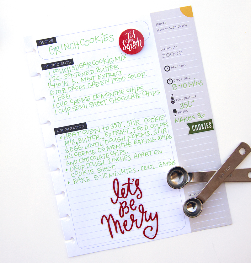 holiday treats in the Recipe Organizer of mambi Design Team member Jennie McGarvey | me & my BIG ideas