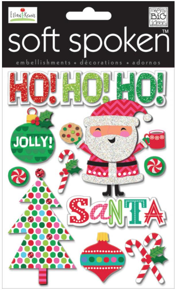 'Jolly Santa' SOFT SPOKEN™ dimensional embellishment stickers | me & my BIG ideas