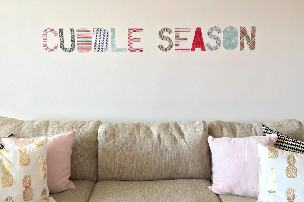DIY 'CUDDLE SEASON' words on the wall w/ new Holiday-themed 12x12 mambiSHEETS pads | me & my BIG ideas
