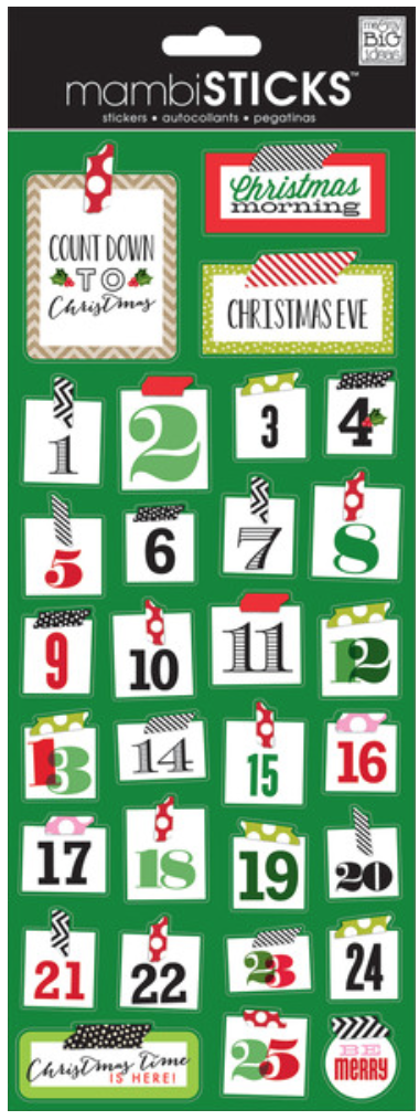 'Christmas Washi Numbers' mambiSTICKS sticker sheet | me & my BIG ideas
