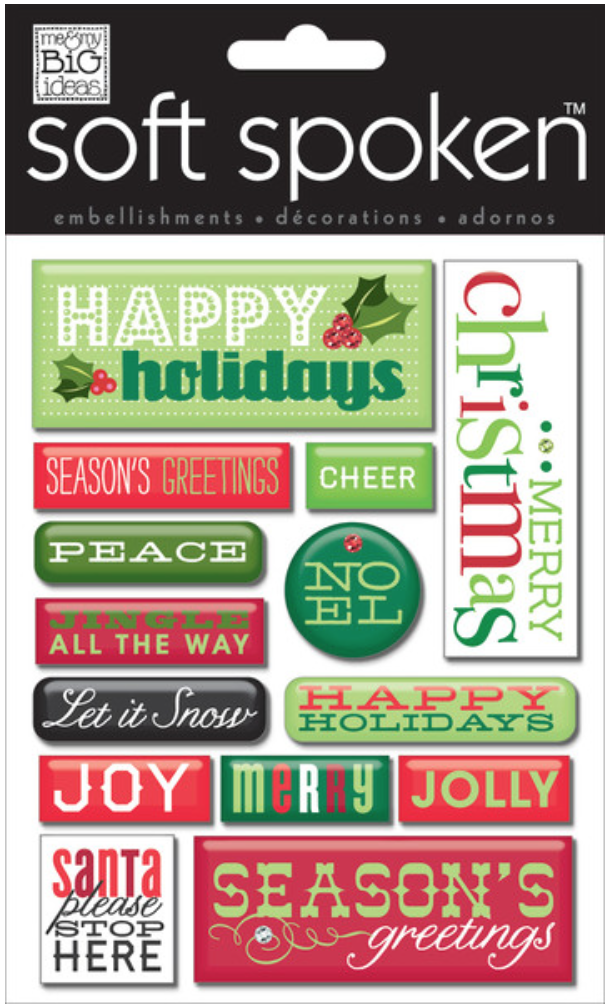 'Happy Holidays Pebbles' SOFT SPOKEN™ dimensional stickers | me & my BIG ideas