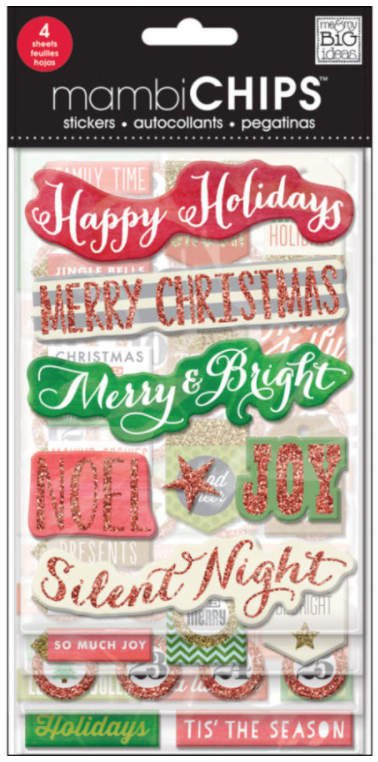 'Holiday Tags & Numbers' mambiCHIPS chipboard stickers | me & my BIG ideas