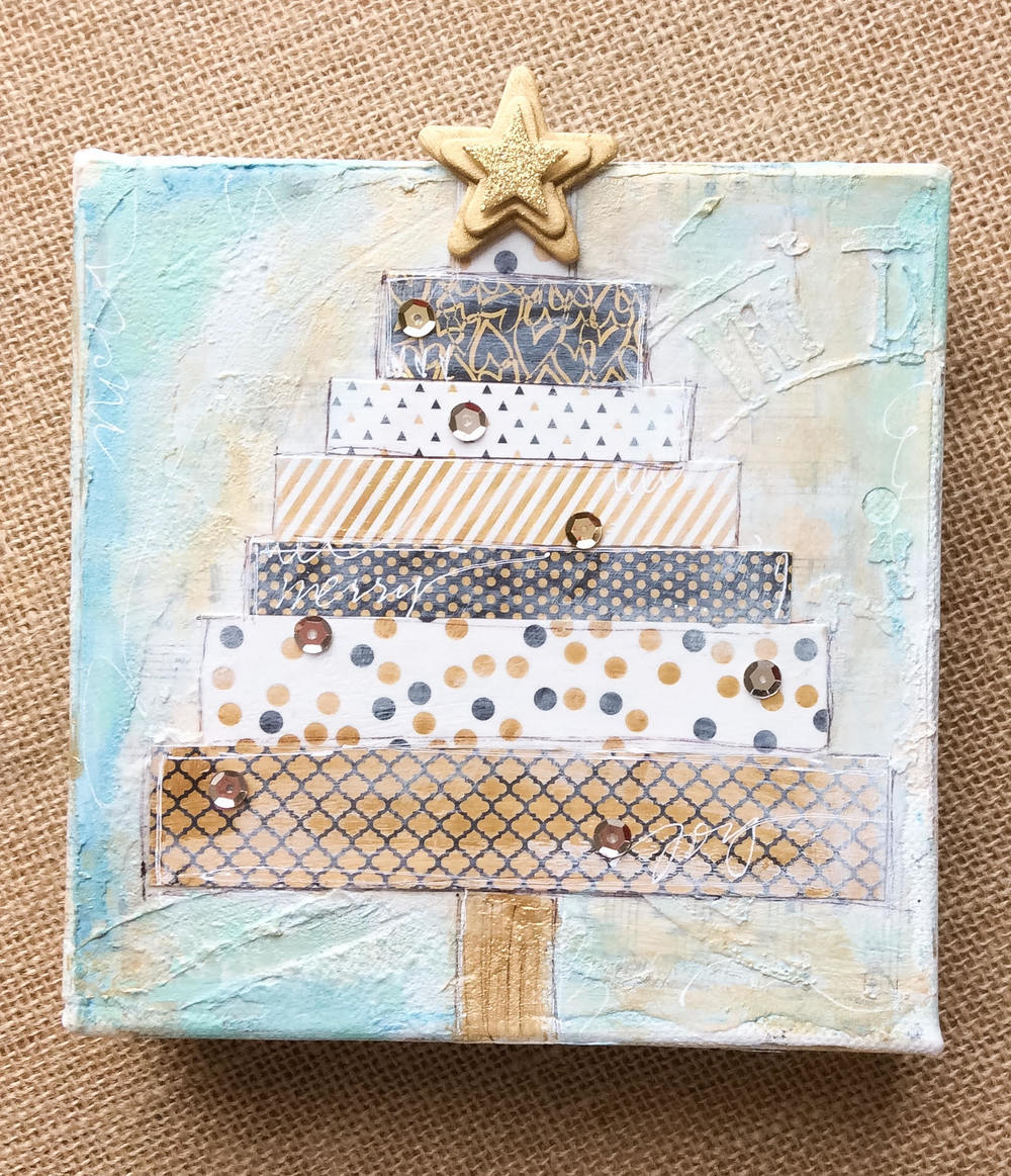 mixed media Christmas Tree canvas by mambi Design Team member Jen Randall | me & my BIG ideas
