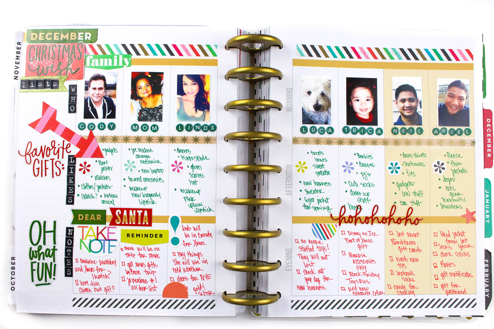 The Happy Planner Weekly Layout Christmas Wish List