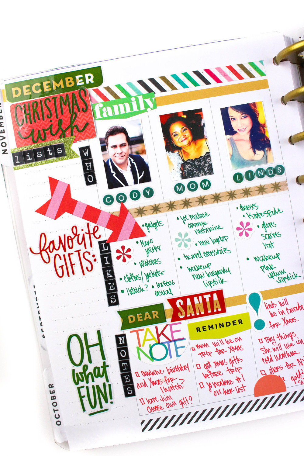 a weekly layout Christmas wish list in The Happy Planner™ of mambi Design Team member Tiffany Ross | me & my BIG ideas