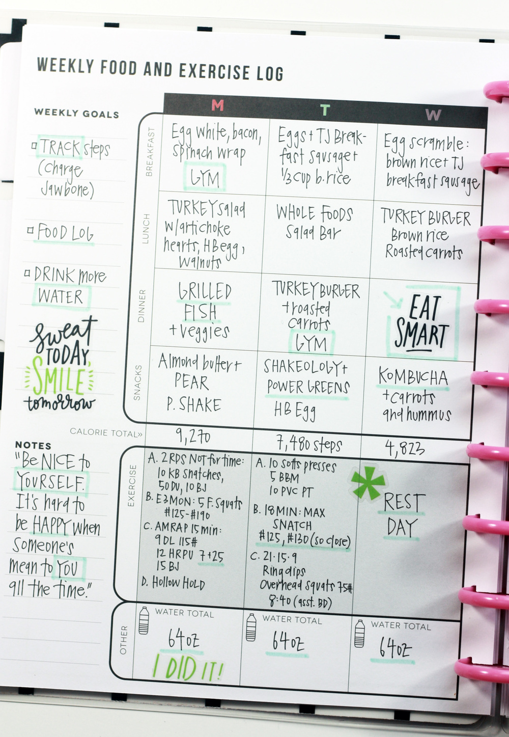 The Fitness Planner Food Exercise Log Added