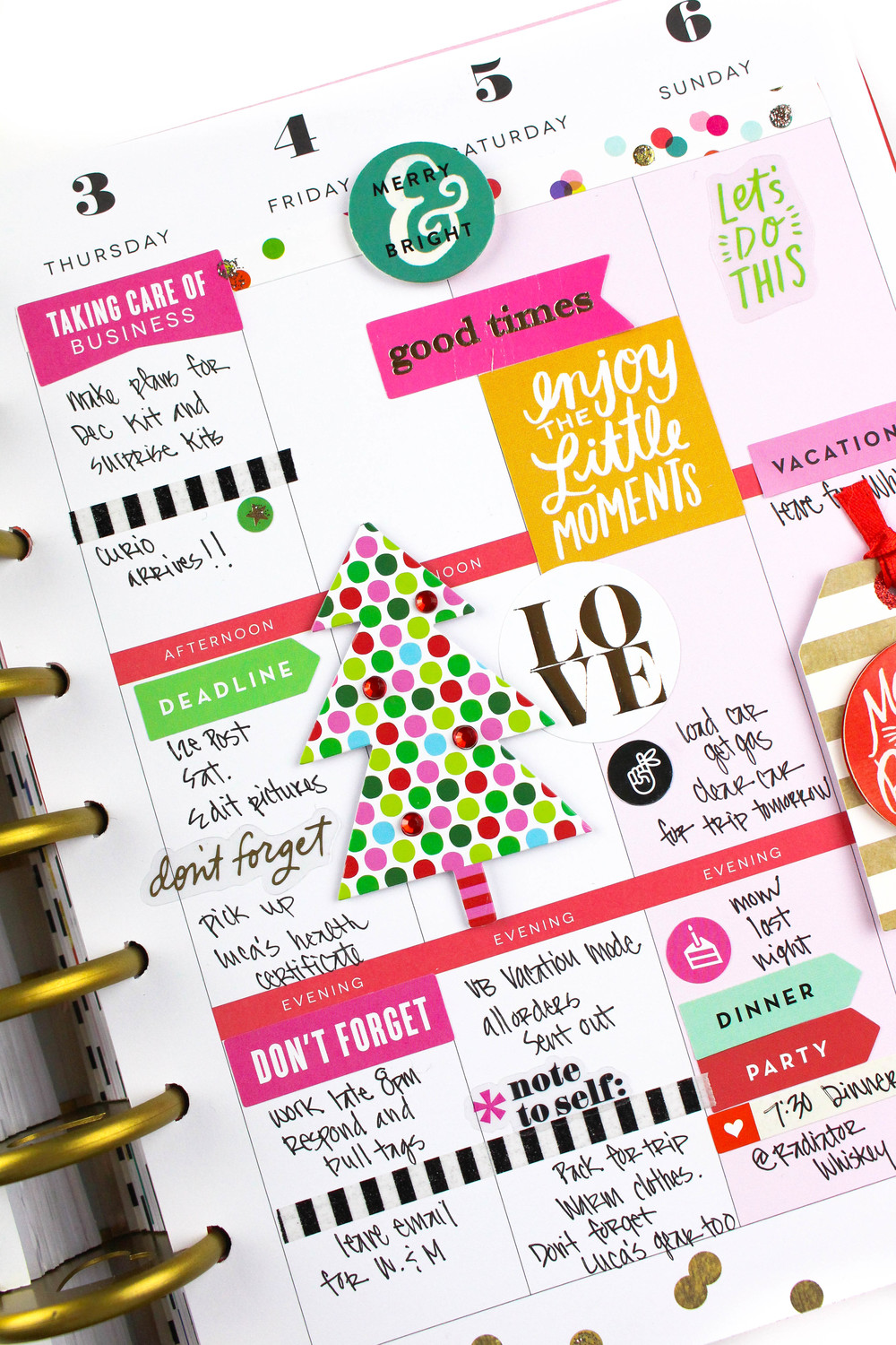 'Merry & Bright' December weekly layout in The Hapy Planner™ of mambi Design Team member Tiffany Ross | me & my BIG ideas