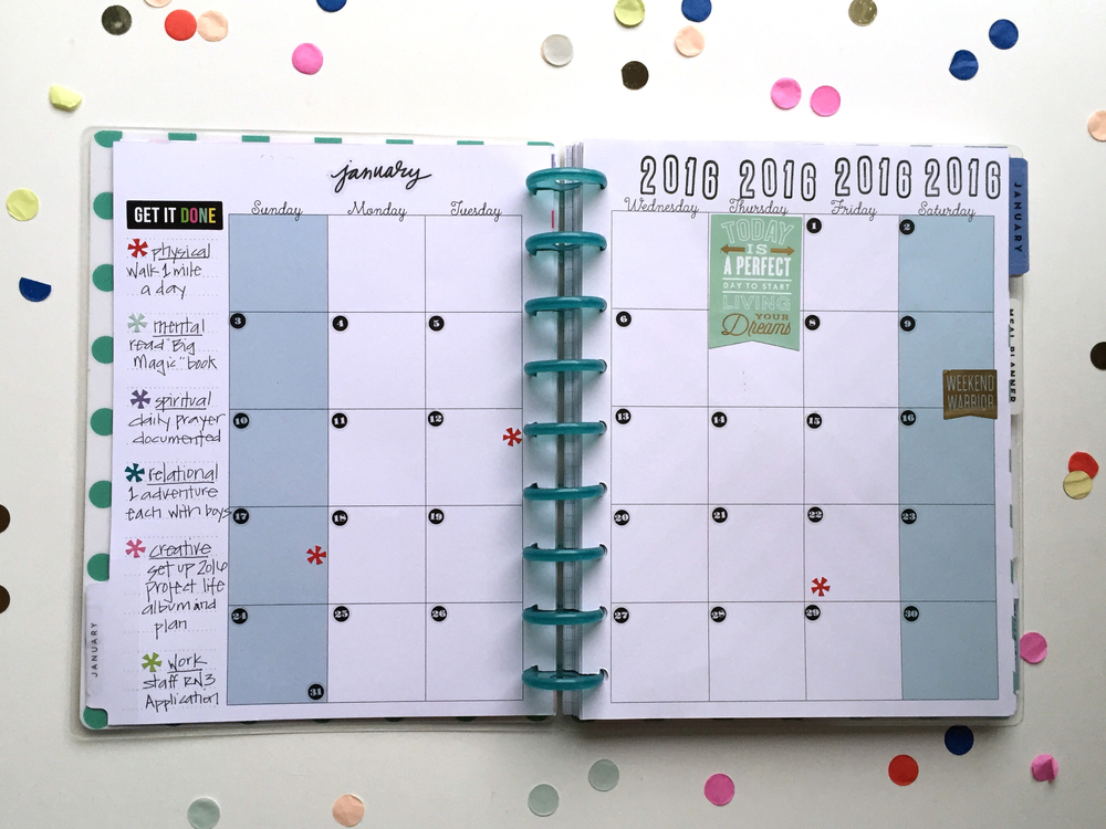 The happy planner january goals setup me my big ideas for Happy planner ideas