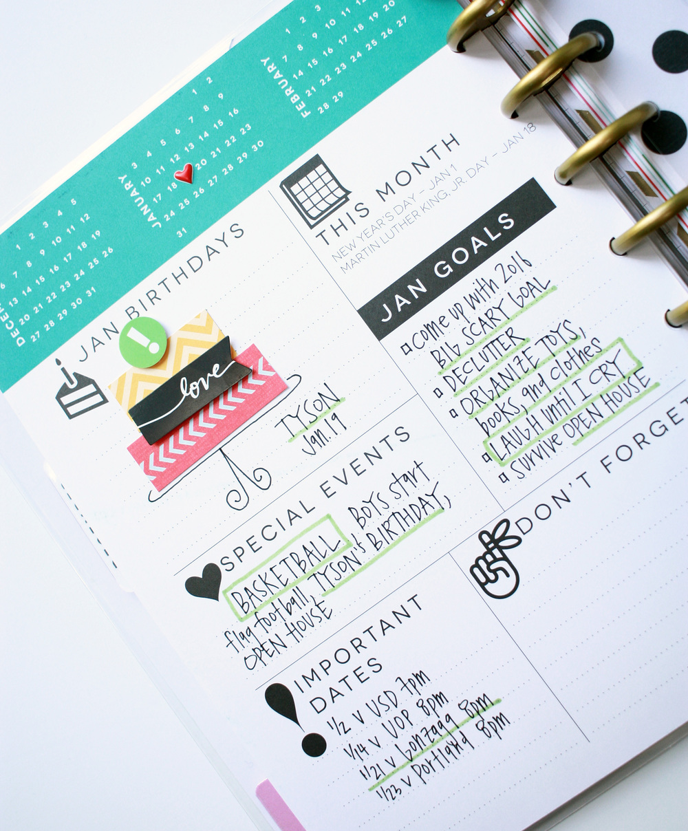 January 2016 in The Happy Planner™ of mambi Design Team member April Orr | me & my BIG ideas