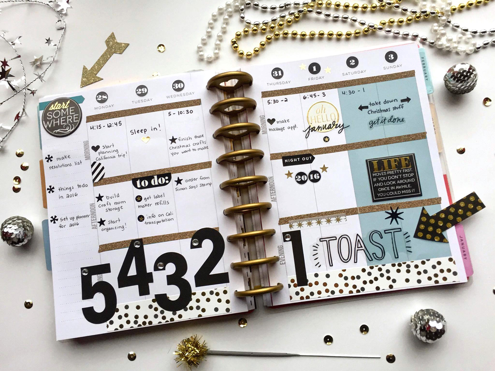 a New Years Eve COUNTDOWN weekly layout in The Happy Planner™ of mambi Design Team member Megan McKenna | me & my BIG ideas