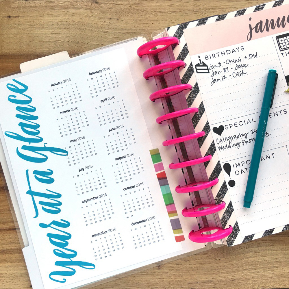 2016 'Year at a Glance' Free Printable for The Happy Planner™ — me ...