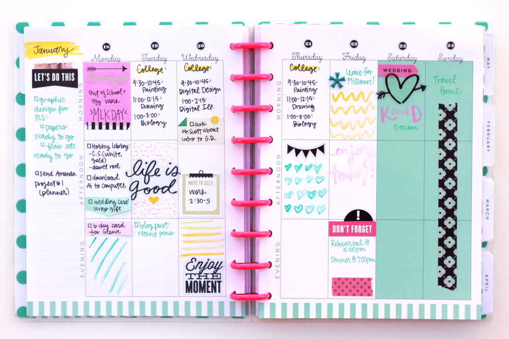 last week in January w/ watercolor doodles in The Happy Planner™ of mambi Design Team member Heather Adams | me & my BIG ideas