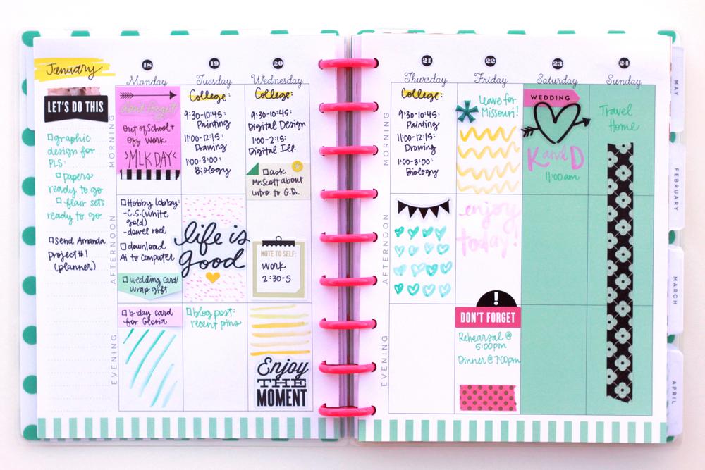 The Happy Planner™   January week w/ watercolor doodles ...