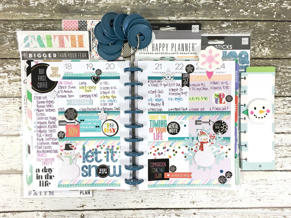 'letit snow' weekly layout in The Happy Planner™ of mambi Design Team member Mary-Ann Maldonado | me & my BIG ideas