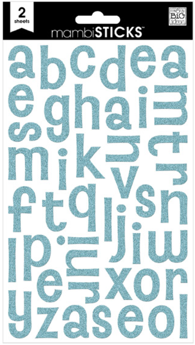 Turquoise Glitter mambiSTICKS alphabet stickers | me & my BIG ideas