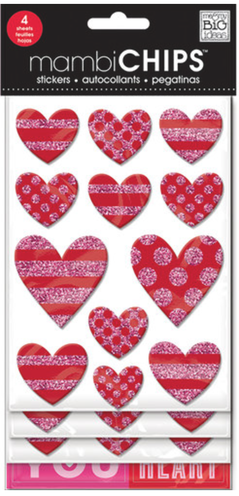 'Love Hearts' mambiCHIPS chipboard stickers | me & my BIG ideas