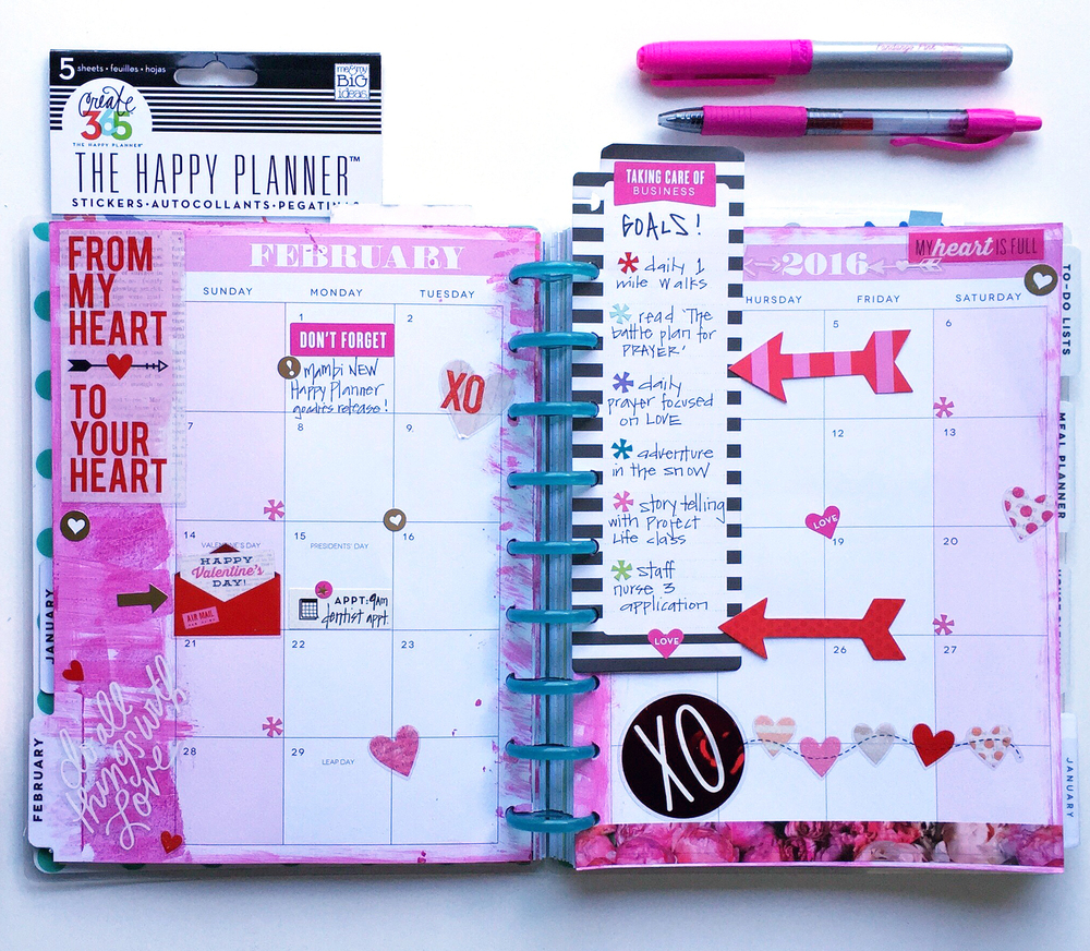 The happy planner painty february setup me my big ideas for Happy planner ideas