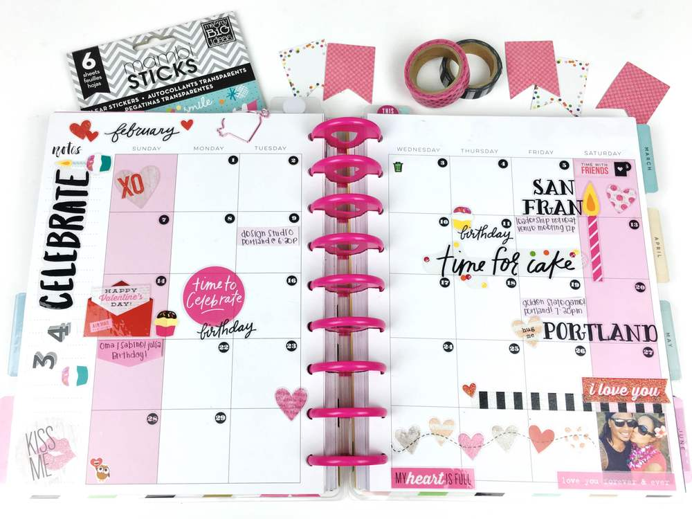 February monthly layout & Vlaentine's week setup in The happy Planner™ of mambi Design Team member Chantal Williams | me & my BIG ideas