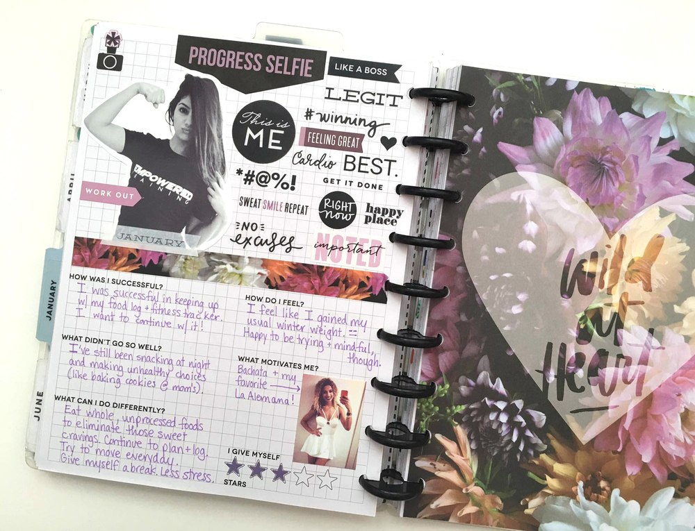 'Progess Seflie' page and reflecting on January's Fitness Journey in The Happy Planner™ Fitness Extension Pacl by mambi Social Medai Coordinator Amanda Zampelli | me & my BIG ideas