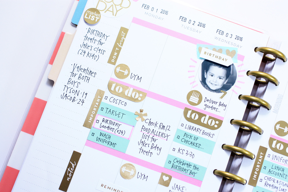 a pink, mint, & gold first week of February in The Happy Planner™ of mambi Design Team member April Orr | me & my BIG ideas