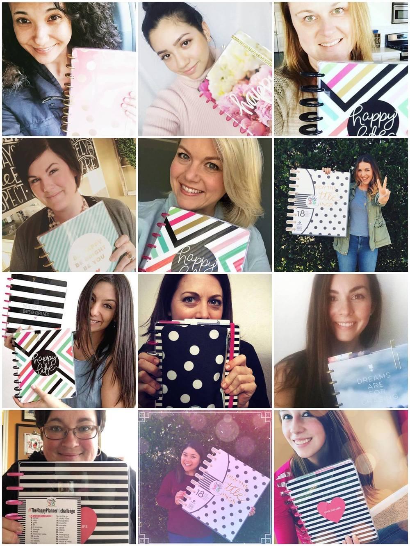 the mambi team & their planner selfies: @momruncraft | @paperprincess | @ajmcgarvey | @janna_wilson | @stephanie_fleming | @hannahjoyyyy | @amandarosezamp | @cultivatingcasie | @noviventure | @maryannmaldonado | @chantelle_plans | @megannxo27 | Can you spot the new Happy Planners™?