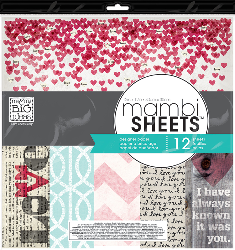 'Straight to the Heart' mambiSHEETS 12x12 designer paper pack | me & my BIG ideas